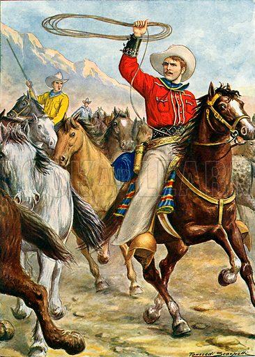 American cowboy.  Illustration for Storia de Costume dei Popoli by Paolo Lorenzini (Nerbini, 1934).