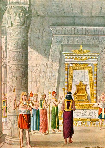 Egypt - Guardians of the Temple.  Illustration for Storia de Costume dei Popoli by Paolo Lorenzini (Nerbini, 1934).