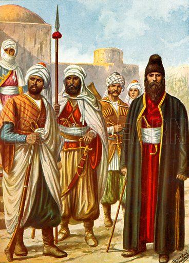Kurds, Georgian and Armenian.  Illustration for Storia de Costume dei Popoli by Paolo Lorenzini (Nerbini, 1934).