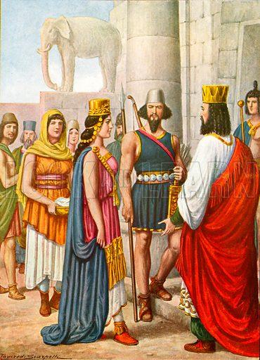 Persian costumes.  Illustration for Storia de Costume dei Popoli by Paolo Lorenzini (Nerbini, 1934).