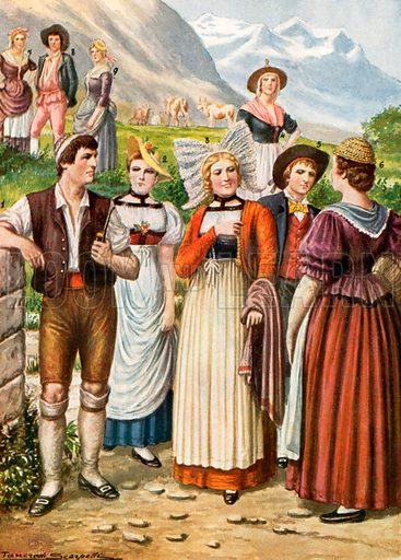 Swiss costumes. Illustration for Storia de Costume dei Popoli by Paolo Lorenzini (Nerbini, 1934).