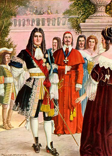 Louis XIV of France and his court.  Illustration for Storia de Costume dei Popoli by Paolo Lorenzini (Nerbini, 1934).