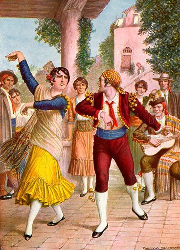 Spanish dancers.  Illustration for Storia de Costume dei Popoli by Paolo Lorenzini (Nerbini, 1934).