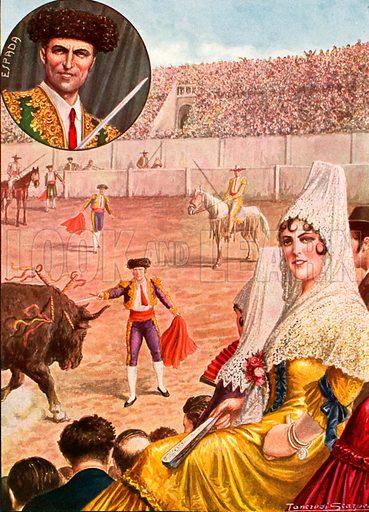 Spanish bullfight. Illustration for Storia de Costume dei Popoli by Paolo Lorenzini (Nerbini, 1934).