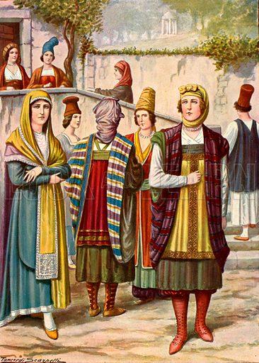 Costumes of the 19th century, as found in Greece, Argentina etc.  Illustration for Storia de Costume dei Popoli by Paolo Lorenzini (Nerbini, 1934).