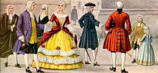 18th century Italian dress.  Illustration for Storia de Costume dei Popoli by Paolo Lorenzini (Nerbini, 1934).