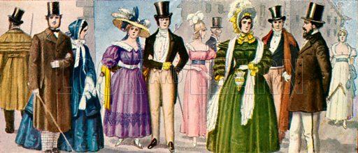 19th century costumes.  Illustration for Storia de Costume dei Popoli by Paolo Lorenzini (Nerbini, 1934).