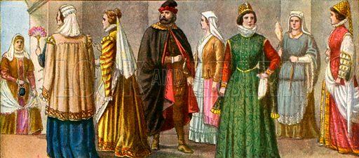 16th century Italian dress.  Illustration for Storia de Costume dei Popoli by Paolo Lorenzini (Nerbini, 1934).