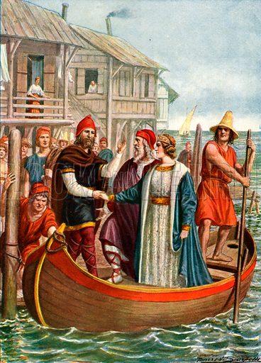 Venice at the end of the 7th century. Illustration for Storia de Costume dei Popoli by Paolo Lorenzini (Nerbini, 1934).