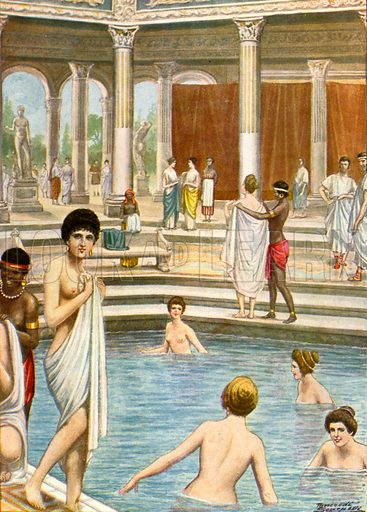 Roman baths.  Illustration for Storia de Costume dei Popoli by Paolo Lorenzini (Nerbini, 1934).