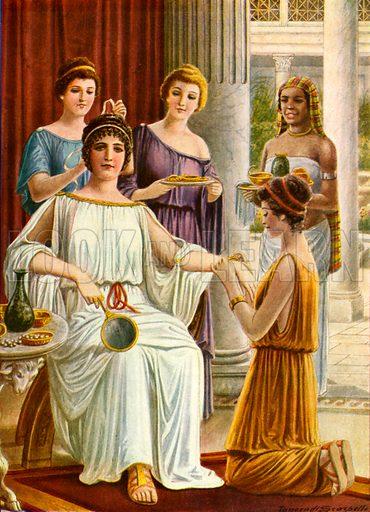 Woman's toilette in ancient Rome.  Illustration for Storia de Costume dei Popoli by Paolo Lorenzini (Nerbini, 1934).