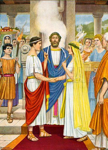Roman wedding at the time of the Republic. Illustration for Storia de Costume dei Popoli by Paolo Lorenzini (Nerbini, 1934).