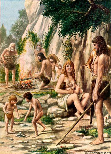 The original Italians - Cave men.  Illustration for Storia de Costume dei Popoli by Paolo Lorenzini (Nerbini, 1934).