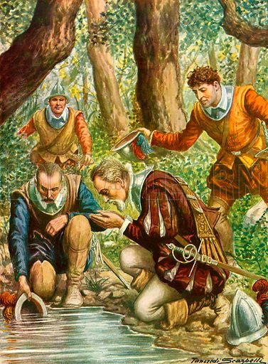 Ponce di Leon goes in search of the fountain of youth.  Illustration for Storia dei Viaggiatori by Paolo Lorenzini (Nerbini, 1937).