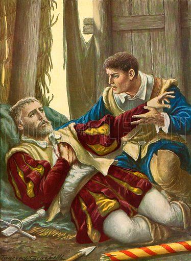 Death of Giovanni della Casa. Illustration for Storia dei Viaggiatori by Paolo Lorenzini (Nerbini, 1937).