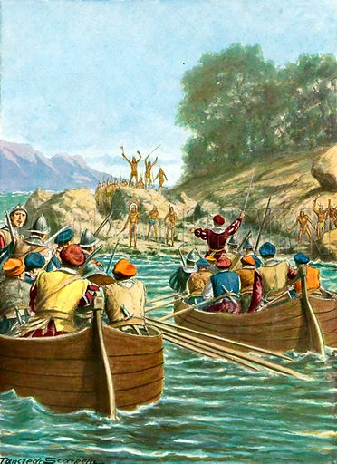 The expedition of Vincente Yanez Pinzon facing hostility from the natives of the New World.  Illustration for Storia dei Viaggiatori by Paolo Lorenzini (Nerbini, 1937).