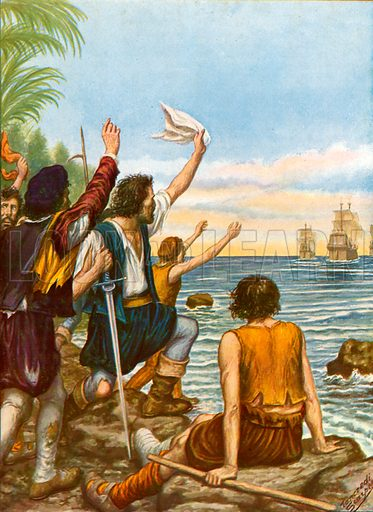 Diego Masques, captain of one of the ships from the second expedition of Cristopher Columbus, left on an island with eight men. Illustration for Storia dei Viaggiatori by Paolo Lorenzini (Nerbini, 1937).