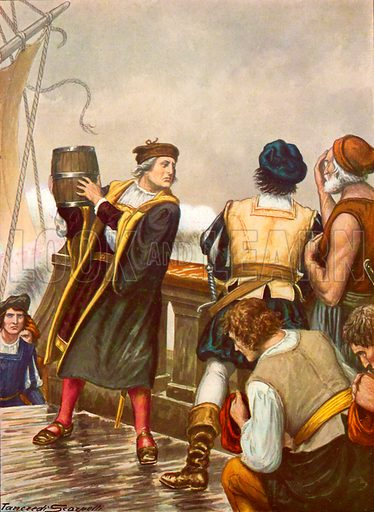 Columbus on the return from his first voyage throwing a barrel into the sea. Illustration for Storia dei Viaggiatori by Paolo Lorenzini (Nerbini, 1937).