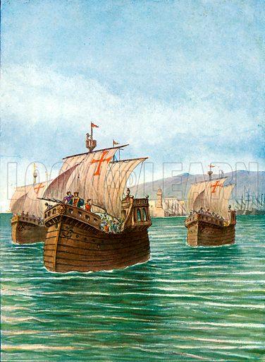 The departure of Cristopher Columbus' three ships. Illustration for Storia dei Viaggiatori by Paolo Lorenzini (Nerbini, 1937).
