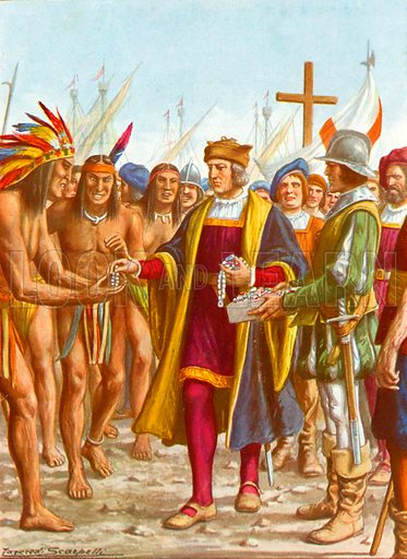 Columbus embarking at San Salvador distributing beads etc to the natives. Illustration for Storia dei Viaggiatori by Paolo Lorenzini (Nerbini, 1937).