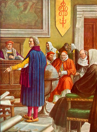 Columbus in front of the doctors of Salamanca.  Illustration for Storia dei Viaggiatori by Paolo Lorenzini (Nerbini, 1937).