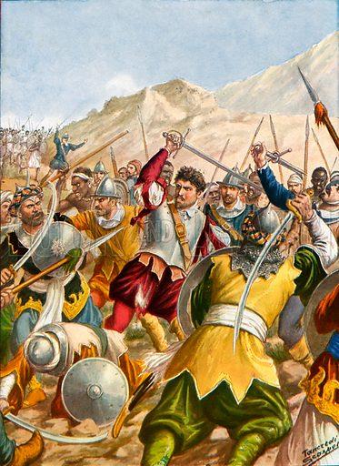 Heroism of the young Captain Christoforo de Gama.  Illustration for Storia dei Viaggiatori by Paolo Lorenzini (Nerbini, 1937).