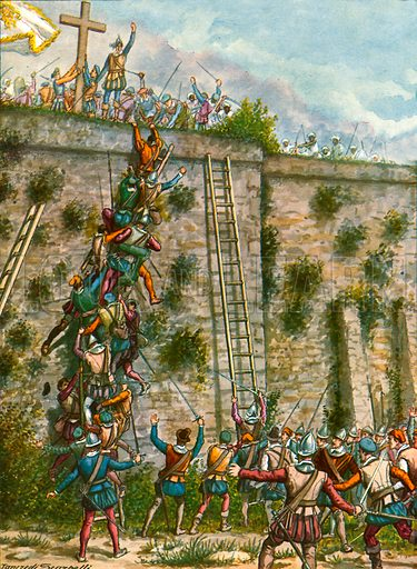 Assault by the Portuguese on the walls of Aden.  Illustration for Storia dei Viaggiatori by Paolo Lorenzini (Nerbini, 1937).