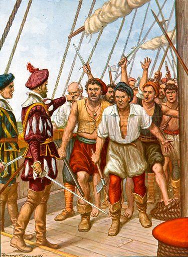 Mutiny  of the crew of the Portuguese ship Fior del Mare.  Illustration for Storia dei Viaggiatori by Paolo Lorenzini (Nerbini, 1937).