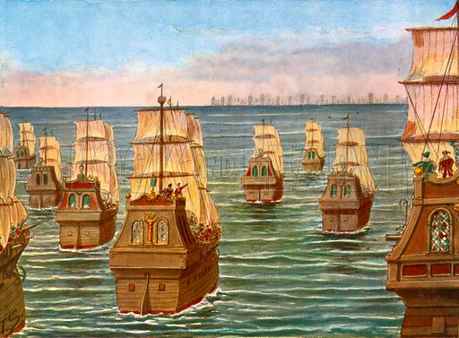 The fleet of Lorenzo d'Almeida confronting the fleet of Samorin.  Illustration for Storia dei Viaggiatori by Paolo Lorenzini (Nerbini, 1937).