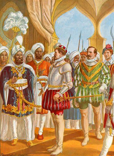 Conversation between Pietro Alvares Cabral and the king of Calicut.  Illustration for Storia dei Viaggiatori by Paolo Lorenzini (Nerbini, 1937).