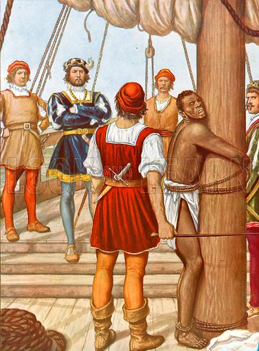 Vasco de Gama whipping a traitor. Illustration for Storia dei Viaggiatori by Paolo Lorenzini (Nerbini, 1937).