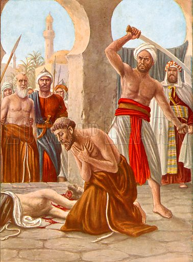 Martydom of brother Jacopo de Padova in India.  Illustration for Storia dei Viaggiatori by Paolo Lorenzini (Nerbini, 1937).