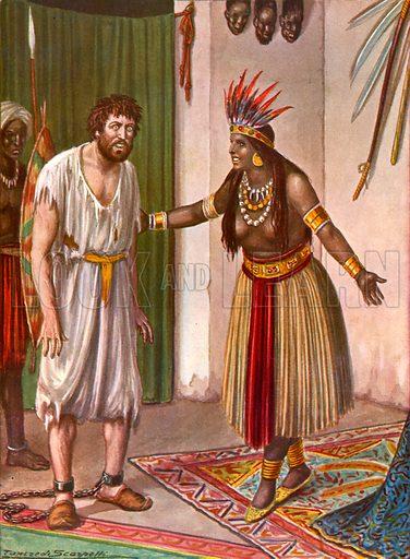 Ludovico de Varthema and the Sultana of Aden. Illustration for Storia dei Viaggiatori by Paolo Lorenzini (Nerbini, 1937).