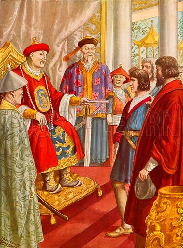 Marco Polo the younger being presented to Kublai Khan. Illustration for Storia dei Viaggiatori by Paolo Lorenzini (Nerbini, 1937).