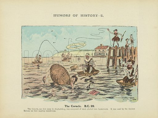 The Coracle. B.C. 99. Illustration for Humors of History (Sully and Ford, c 1905).