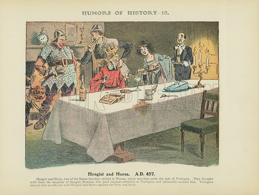 Hengist and Horsa. AD 457. Illustration for Humors of History (Sully and Ford, c 1905).
