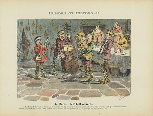 The Bards. AD 500 onwards. Illustration for Humors of History (Sully and Ford, c 1905).