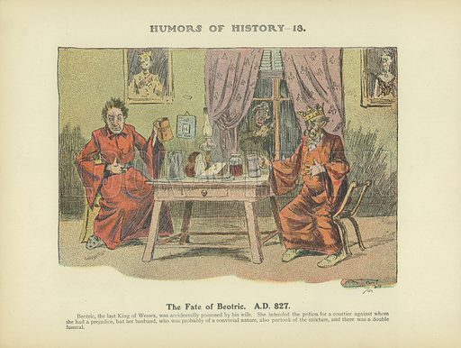The Fate of Beotric. AD 827. Illustration for Humors of History (Sully and Ford, c 1905).