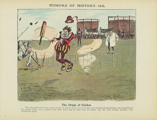 The Origin of Cricket. Illustration for Humors of History (Sully and Ford, c 1905).