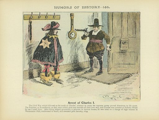 Arrest of Charles I. Illustration for Humors of History (Sully and Ford, c 1905).