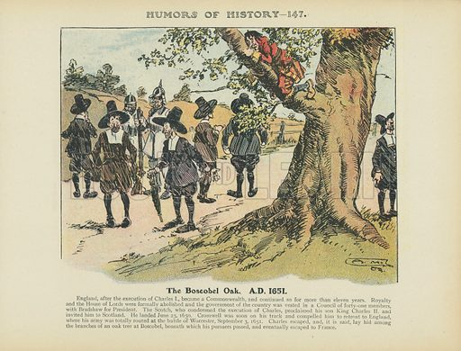 The Boscobel Oak. AD 1651. Illustration for Humors of History (Sully and Ford, c 1905).