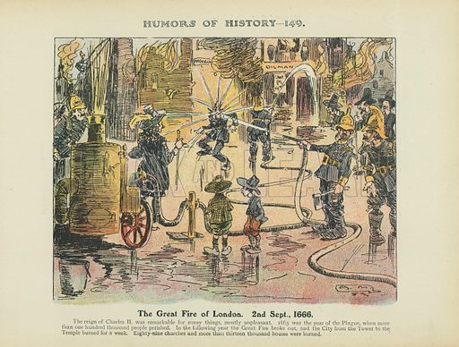 The Great Fire of London. 2nd Sept., 1666. Illustration for Humors of History (Sully and Ford, c 1905).