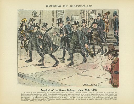 Acquittal of the Seven Bishops. June 29th 1688. Illustration for Humors of History (Sully and Ford, c 1905).