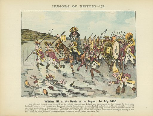 William III at the Battle of the Boyne. 1st July, 1690. Illustration for Humors of History (Sully and Ford, c 1905).