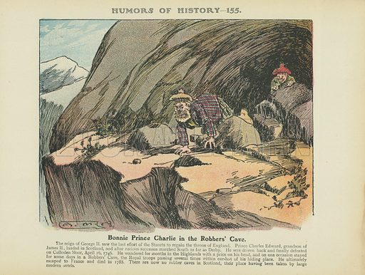 Bonnie Prince Charlie in the Robbers' Cave. Illustration for Humors of History (Sully and Ford, c 1905).
