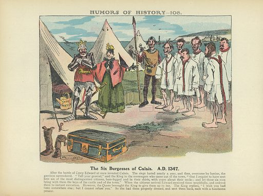 The Six Burgesses of Calais. AD 1347. Illustration for Humors of History (Sully and Ford, c 1905).