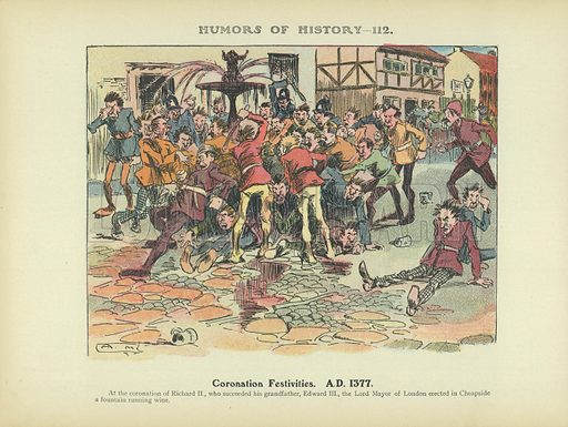 Coronation Festivities. AD 1377. Illustration for Humors of History (Sully and Ford, c 1905).