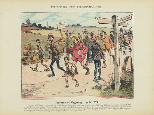 Increase of Vagrancy. AD 1377. Illustration for Humors of History (Sully and Ford, c 1905).