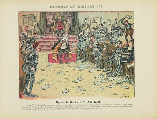 """""""Uproar in the Lords."""" A.D. 1399. Illustration for Humors of History (Sully and Ford, c 1905)."""