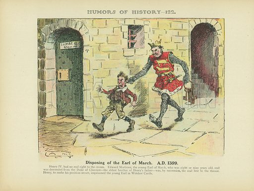 Disposing of the Earl of March. A.D. 1399. Illustration for Humors of History (Sully and Ford, c 1905).